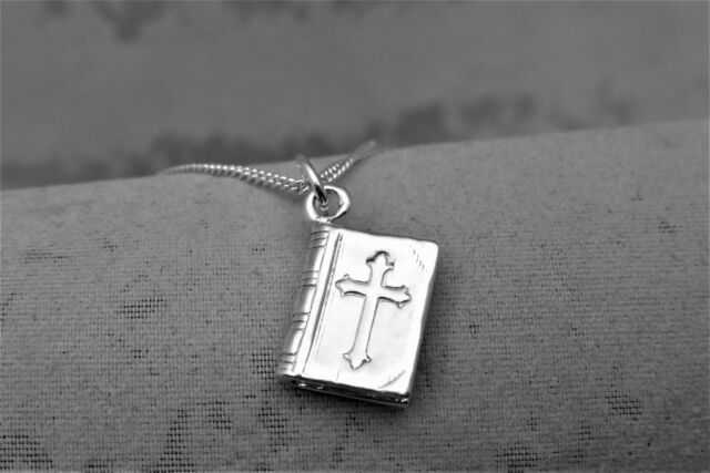"Sterling Silver (925)  Solid 3D Charm ""Bible"""