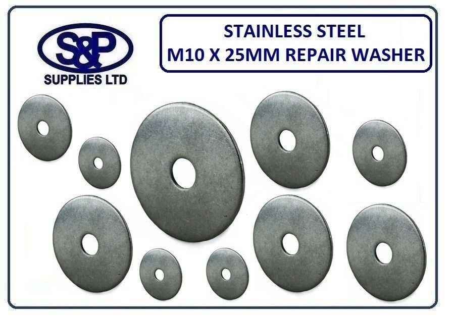 10MM X 25MM (M10 - 3 8 ) STAINLESS STEEL REPAIR WASHER PENNY WASHER ST STEEL