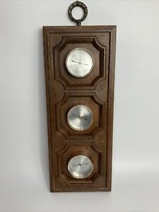 Weather Station Springfield Molded Brass Barometer Thermometer Humidity