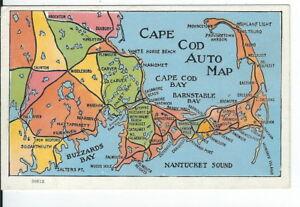 CG-023-MA-Cape-Cod-Auto-Map-White-Border-Era-Postcard-New-Bedford-News-Co