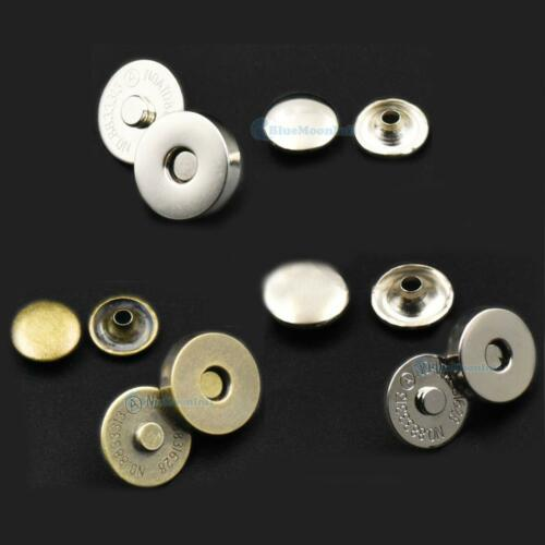 "14mm 9//16/"" 18mm 3//4/"" Magnetic Snap Double Rivet Stud Button Purse Hematite DD"