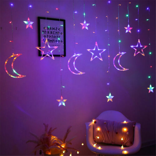 Moon Star LED Curtain Lights Fairy Garlands Outdoor Twinkle String Lights Decor