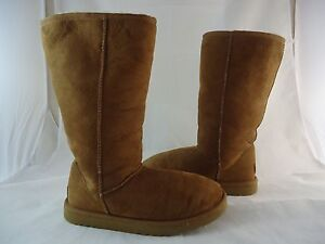 f73b3073ef6 Details about UGG Australia Brown Boots S/N 5815 Leather Genuine Sheepskin  Classic Tall US 7