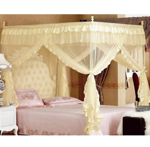 4 Posters Princess Bed Canopy Mosquito Net Cal King Full Queen Twin-XL Bed Size