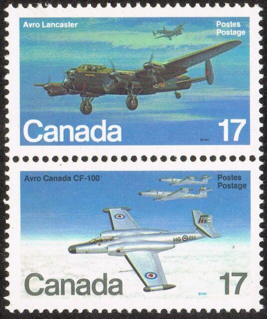 1980 CANADA AVRO CF-100 & LANCASTER BOMBER 17¢ STAMP PAIR, MINT MNH, Scott #874a