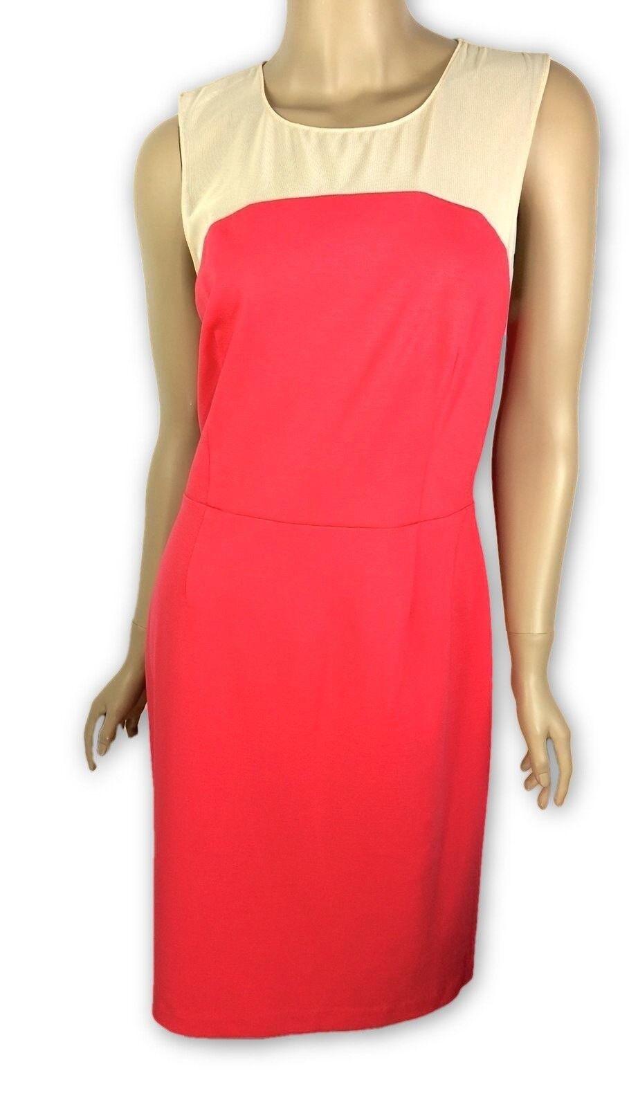 Erin Fetherston New Size 10 Angele Sheath Dress Coral Pink Beige Sheer Yoke  255