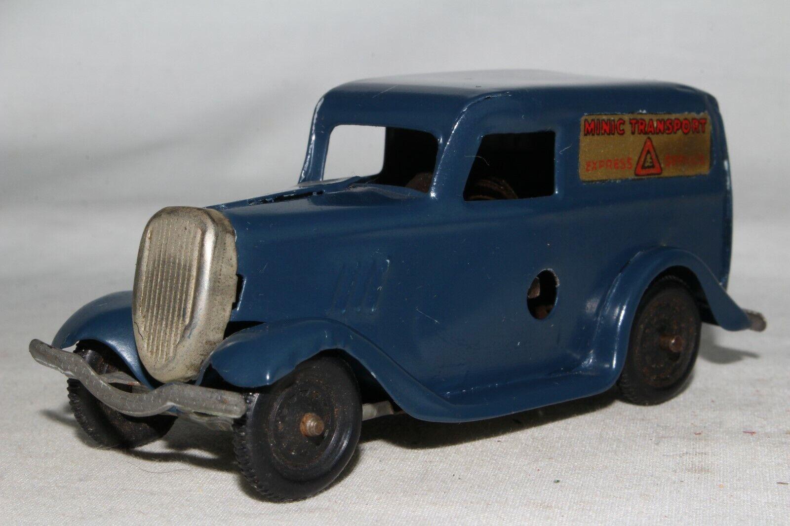 Triang Minic década de 1940 Ford van de entrega de luz, azul, agradable Original