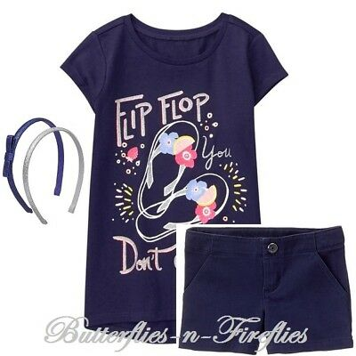 NWT Gymboree ICE CREAM PARLOR Girls Size 4 or 5 Shorts Top Headbands 3-PC OUTFIT