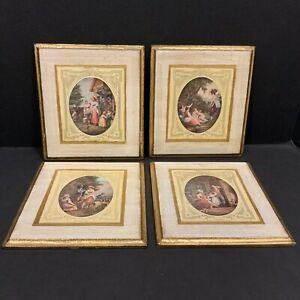 Set of 4 Vintage Italian Wall Art Wood Plaque Pictures Florentine Toleware Tole