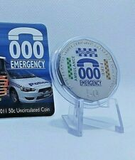 Australian Fifty 50c Cent Coin on Card 2011 TRIPLE ZERO 000 EMERGENCY 50 years