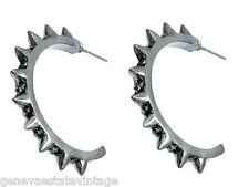 """Gothic Punk Gun Metal Grey Spiked half Hoop Crystal Bling Earrings 1 1/4"""" Hoop"""