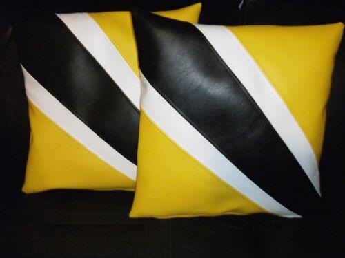 """2 ventiladores de raya imitación cuero Cushion Covers Amarillo Blanco Y Negro 16/"""" Almohada de dispersión"""