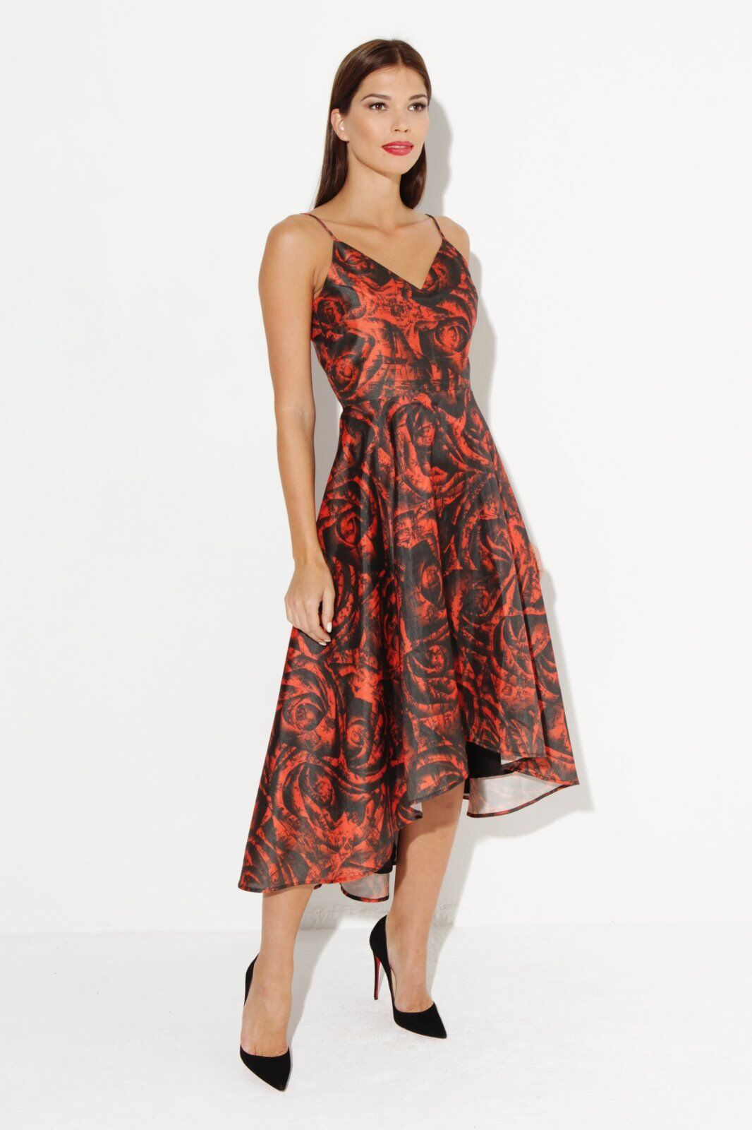 Pearls & Portraits Keela Dress red & black UK 8 RRP still £139