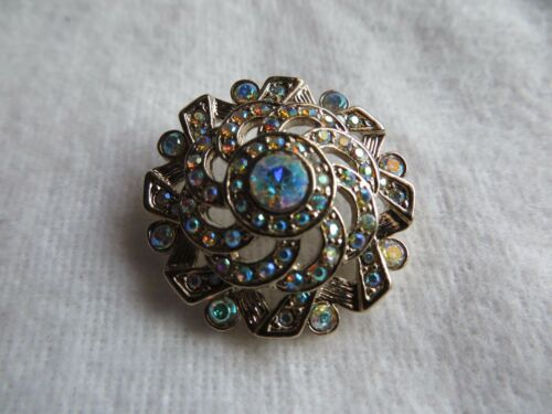 """St John Knit Button Multicolored Crystal and Gold  1 1//16/"""" NWOT #1033"""