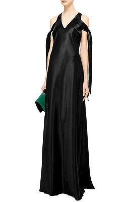 ELLERY black silk cotton satin bias cut dress v-neck sash ribbon gown 40-ITL NEW