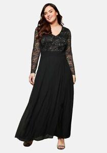 Abendkleid 48 50 52 54 56 Kleid Maxikleid Schwarz Spitze ...