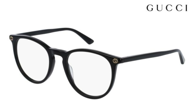 750903b49e3 Authentic Gucci Gg0027o 001 Black Plastic Round Eyeglasses 50mm for ...