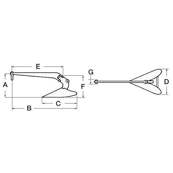 Stahl Plough feuerverzinkt Anker 22 kg - 400mmx1050mmx360mm - feuerverzinkt Plough - Stiefel Stahlanker bc10fc