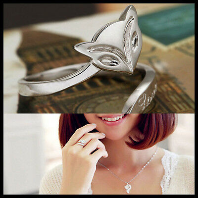 Hot Plated silver Fashion Silver Lady Ring Finger Opening Adjustable Fox New