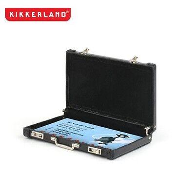 Kikkerland Mini Faux-Leather Black Briefcase Business Card Carrier (OR18-BK)