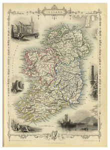 Ireland-Leinster-Ulster-Munster-Connacht-illustrated-map-John-Tallis-ca-1851