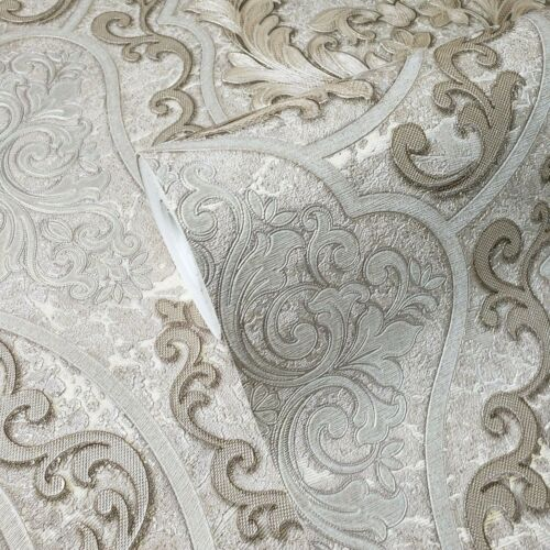 Victorian Wallpaper Persian Damask mocha taupe brass gold Metallic textured 3D