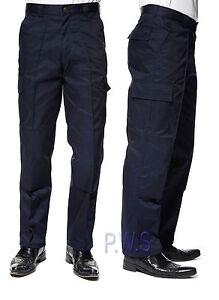 Uneek-Mens-Cargo-Trousers-With-Knee-Pad-Pockets-Work-Wear-Pants-Black-Blue-UC904