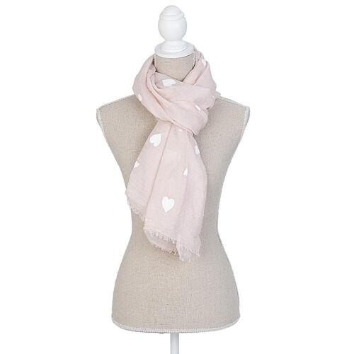 Clayre/&Eef  Schal Halstuch Rosa  mit weißen Herzen 70 x 180 cm.
