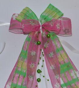 Schultueten-Schleife-pink-gruen-Blumen-Geschenkschleife-Zuckertuetenschleife