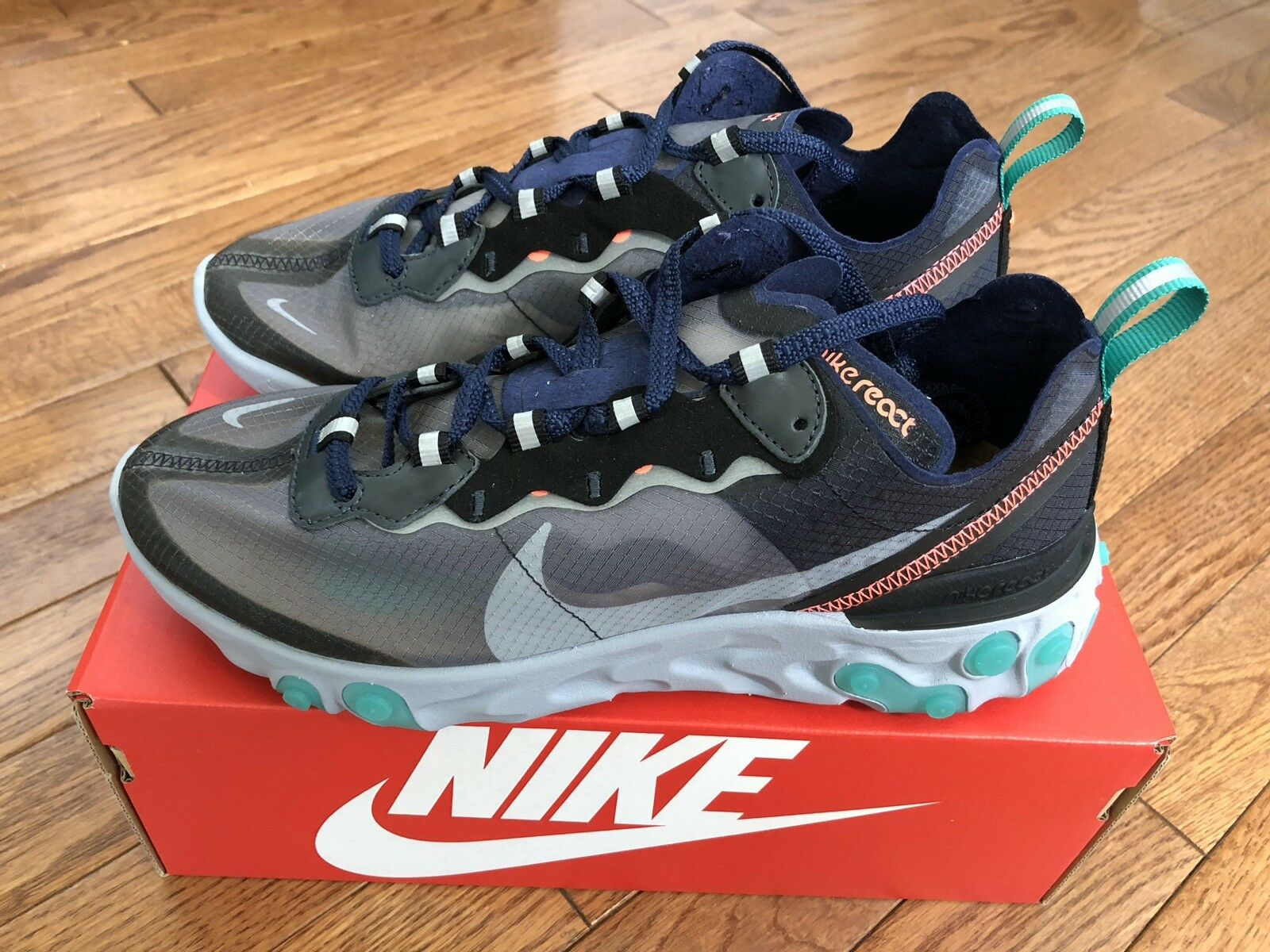 Nike React Element 87 Black Neptune Green Size 7 Black Grey AQ1090-005