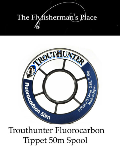 NEW TROUTHUNTER FLUOROCARBON TIPPET 7X 2.5LB 50M SPOOL fly fishing strong best
