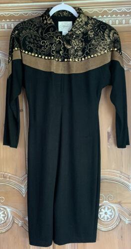 VINTAGE AYAKO SUEDE APPLIQUE BLACK JERSEY DRESS-*M