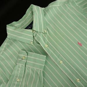 Men-Polo-Ralph-Lauren-Classic-Fit-Green-Striped-Oxford-Golf-Dress-Shirt-Sz-Large