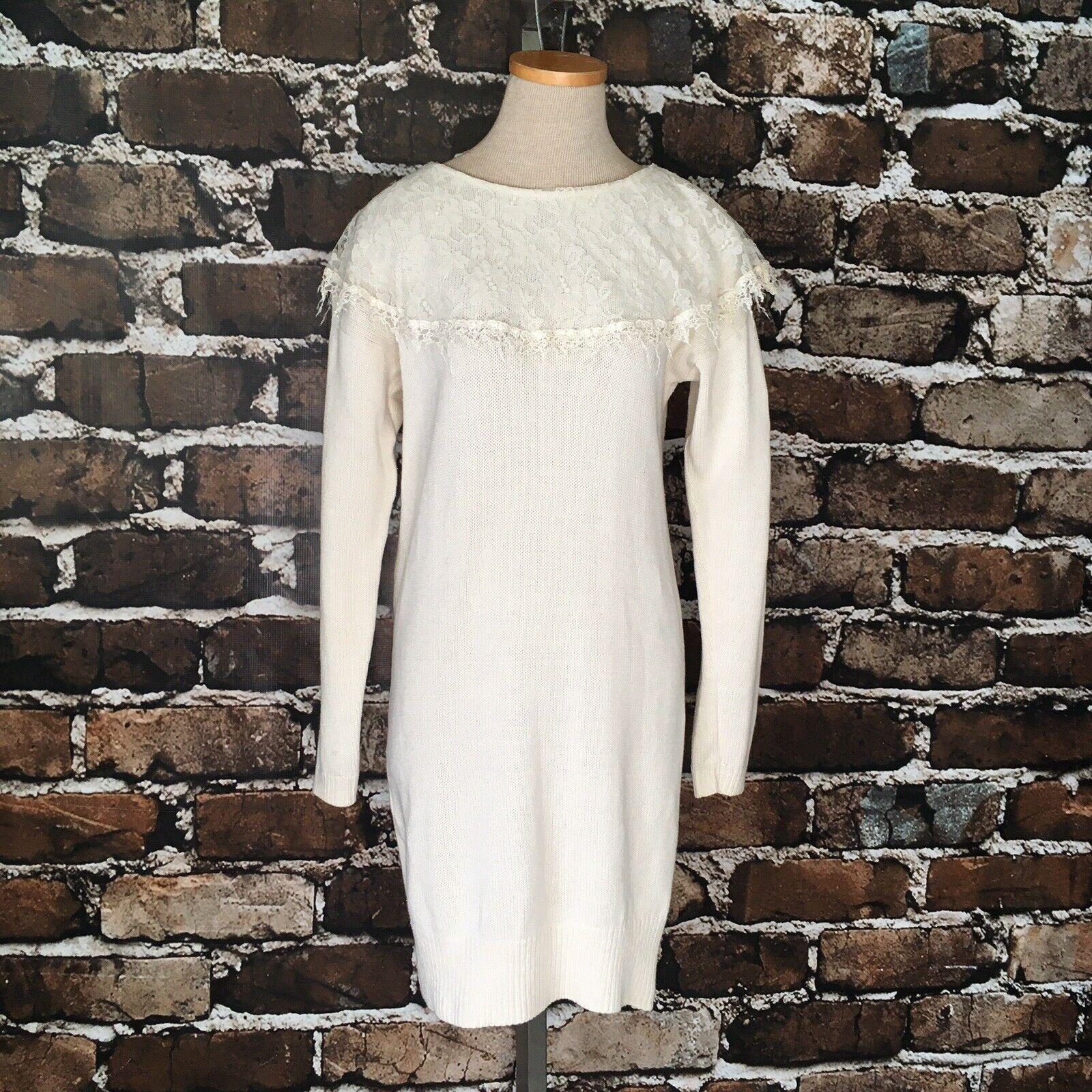 Gunne Sax Sweater Dress Lace Collar Cream Cotton … - image 1