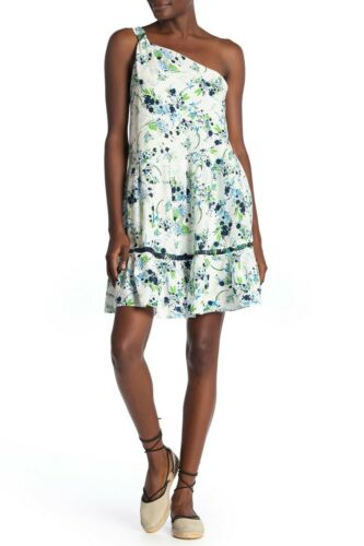 Free People Womens Floral One Shoulder All Mine Mini Dress S M Red White Ruffle