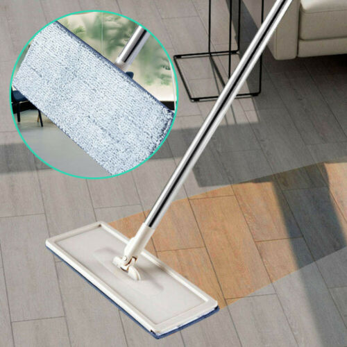 Floor Cleaning Flat Squeeze Mop and Bucket Microfiber Mop Pad Hand Free Wringing