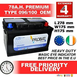 E-U-New-Genuine-OEM-Heavy-Duty-Car-Battery-Type-096-100-78ah-4-YEAR-GUARANTEE