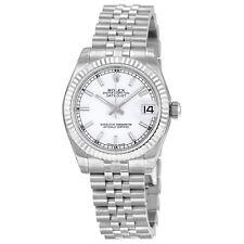 Rolex Datejust White Index Dial Jubilee Bracelet 18kt White Gold Fluted Bezel