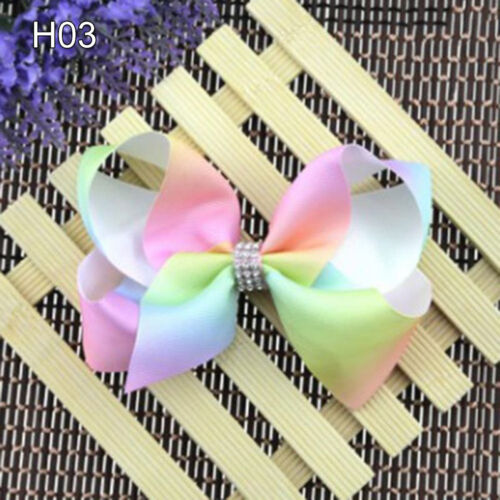 LN/_ AC/_ Best 8 Inch Girl Rainbow Bows Hairpin Grosgrain Ribbon Bow Hair Clip R