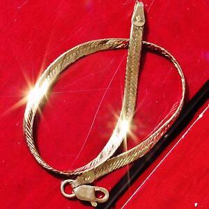 14k-yellow-gold-bracelet-7-0-034-Italian-herringbone-link-chain-vintage-2-9gr