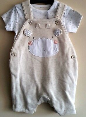 """BABY BOYS /""""EX MOTHERCARE/"""" MY FIRST WADDED DUNGAREE /& BODYSUIT SET 2 PIECE SET"""