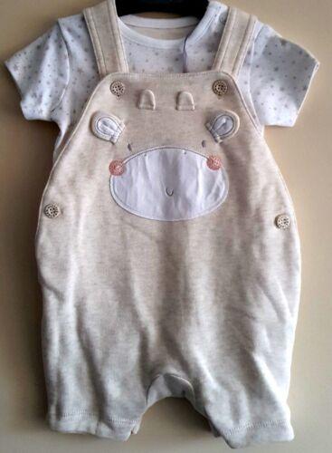 Baby Boys Kids Ex Mothercare 2 Pièce T-shirt et Dungaree ensemble