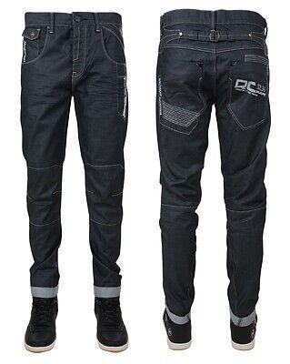 Men's Rawcraft Designer Jeans Tapered Fit George Navy Dark Coated Denim Pants