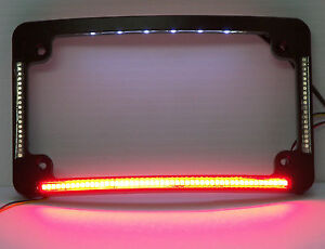 Quad Led Curved Motorcycle License Plate Frame Black W Taillight