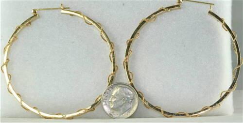 LARGE 14K GOLD TWIST HOOP EARRINGS