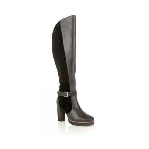Ladies Ravel Rains Retro Platform Black Leather Over The Knee Riding Boots UK 7