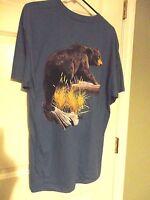 Al Agnew Aftco Mens Graphic Wild Life Reindeer Black Bear Cotton T Shirt Size L