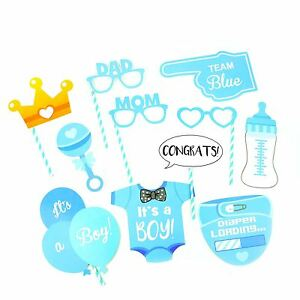 12 Baby Shower Photo Booth Props Boy Birth Party Decorations