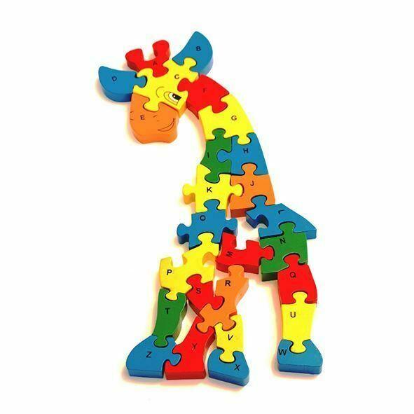 Brand New Preschool WOODEN JIGSAW PUZZLE Rainbow Giraffe for Children Age 2