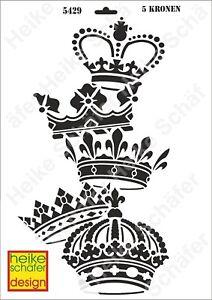 Schablone-Stencil-A3-096-5429-5-Kronen-Neu-Heike-Schaefer-Design